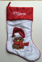 White Robin Christmas Stocking